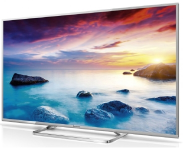 Silver Panasonic TV on stand
